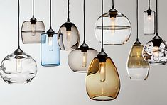 Swift Hand-blown Glass Pendant Lights - Hennepin Made Pendant Collections - Modern Lighting - Room & Board Blown Glass Pendant Light, Modern Pendant Light, Pendant Chandelier, Modern Chandelier, Glass Pendants, Pendant Lighting, Globe Pendant, Oval Pendant, Dining Chandelier
