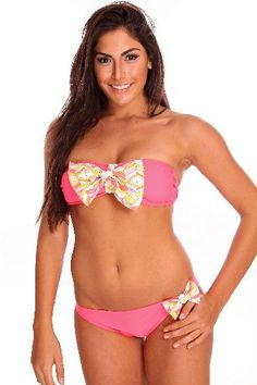 Coral Chevron Bandeau Bow Bikini