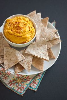 Spicy Sweet Potato Hummus; BIG hit at our house! Easy and yummy. My favorite.