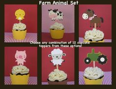 On The Farm Cupcake Toppers  Set of 12  MADE TO by mypaperpantry, $9.00