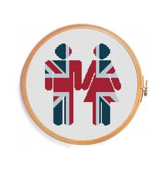 Love UK - cross stitch pattern - heart british uk decoration union jack british flag united kingdom london great britain flag patriotic
