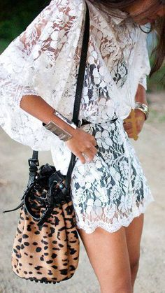 Brown leopard print hobo bag with lace boho chic kimono.