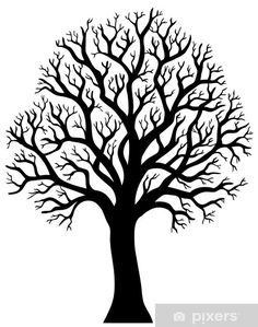 Silhouette Of Tree Without Leaf - Illustration. Royalty Free Cliparts, Vectors, And Stock Illustration. Arte Linear, Stencils, Tree Stencil, Leaf Illustration, Metal Tree Wall Art, Tree Silhouette, Silhouette Painting, Silhouette Cameo, Silhouette Projects