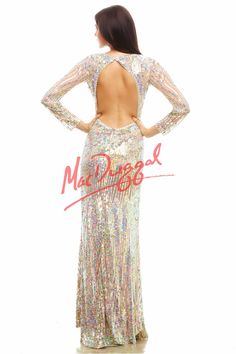Mac Duggal 4099A Sequins are a must for the Spring 2015 season and this long prom dress has it all! At the bateau neckline, AB circular stones shine from the front around to the circular open back. Long lines of brightly colored sequins dazzle along the long sheer sleeves and then cluster around the bottom. More AB stones sparkle around the waistline as more long lines of sequins fall to the bottom of the floor into a slight sweep train...available in Nude