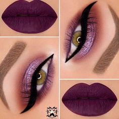 Eye Makeup - Are you looking for some fun new makeup looks for your gorgeous green eyes? Check out these hot makeup trends that will make your eyes sparkle and shine! Purple Eyeshadow, Eyeshadow Makeup, Eyeliner, Face Makeup, Makeup Brushes, Makeup Case, Makeup Geek, Beauty Makeup, Gorgeous Makeup