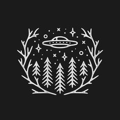trees ufo spaceship stars branches antlers