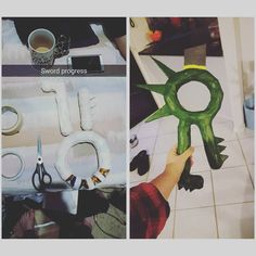 Okay so im super proud of how this is turning out. My Meliodas sword is slowly but surely getting there it needs more layers of paint and the detail to be added on but it started as just a bag full of old Christmas  ornaments and some cardboard. Thanks to @lets_get_pizza OCD for taking it off me whenever i was havin a hard time! - - - {#Meliodas #meliodascosplay #props #cosplay #cosplayprops #sevendeadlysins #7ds }