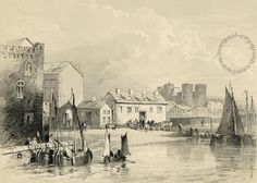 Liverpool, history, liverpool-history-l1-old-customs-house-and-castle-1843