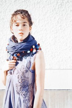 scarf with flowers/pompoms