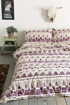 Magical Thinking Stamped Geo-Point Duvet Cover - Urban Outfitters - Purple $59