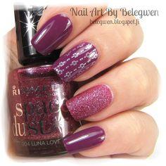 Nail Art by Belegwen: Gina Tricot Boysenberry and Rimmel Luna Love
