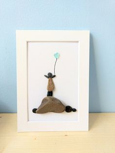Child with balloon, sea glass, birthday gift, mother's day gift, anniversary gift, cottage decor, unframed 5 by 7, by Jenny Love