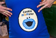 """Cookie Monster or """"MOMster"""" shirt for a Sesame Street/Elmo Themed birthday bash!  Come celebrate your kids party with this DIY shirt!  DIY decorations and food ideas included, along with FREE printables to download at Melly Moments Blog!"""