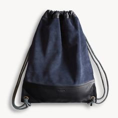 The HENTEN Bag — Navy Suede & Black Leather