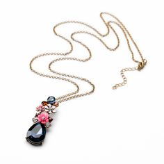 Delicate Naughty Girls Charm Gold Color Flower Tear Light Long Necklace