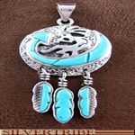 Turquoise Inlay Genuine Sterling Silver Kokopelli And Feather Pendant