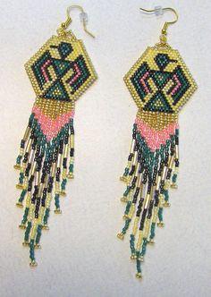 Native American Inspired Hand Beaded Thunderbird Dangle Earrings With Long Fringe by TheBeadedDiamond on Etsy