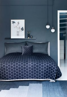 http://jensen-beds.com/ like this bedroom.A dream of a bedroom in blue shades. We love the beautiful bedspread from Hay.