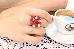Floral Ring - Red, Yellow, White  Flowers