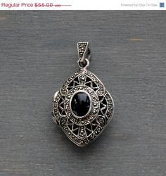 SALE Vintage Sterling Silver Black Onyx Marcasite Locket Pendant by MintAndMade