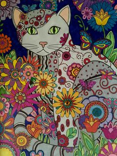 Creative Cats Creative Haven, Dover Publishing Prismacolor Markers, gel pens, and some bling Colored by Jan