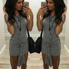 vestido-curto-cinza-mescla-justo-amarrar-duplo-regatão-aberto-dos-lados-comprar