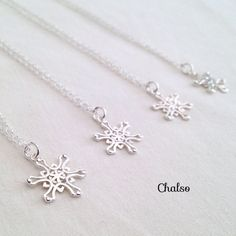 Sterling silver snowflake necklace set of 4 snowflake by Chalso