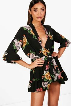 Click here to find out about the Riley Oriental Kimono Style Belted Playsuit  from Boohoo,