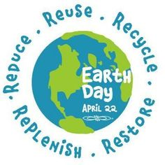 Earth Day, Reduce, Reuse, Recycle, Replenish, Restore