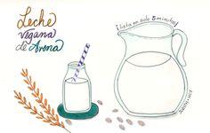 Como preparar leche vegetal de avena en casa | Food Blogging Recetas Cocina Creativa Ilustración de comida Food Illustration