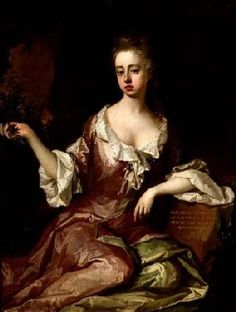 Elizabeth (Wilmot) Montagu, Countess of Sandwich by Michael Dahl.  Daughter of the Restoration poet, John, Earl of Rochester and his wife Elizabeth (Malet), she married Edward Montagu, 3rd Earl of Sandwich, from whom the present earl descends. Her grandson, the 4th  earl, was famed as the inventor of the namesake food--and 1st Lord of the Admiralty.