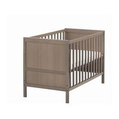 "SUNDVIK crib, gray-brown Length: 54 3/8 "" Height: 34 5/8 "" Width: 29 7/8 "" Length: 138 cm Height: 88 cm Width: 76 cm"
