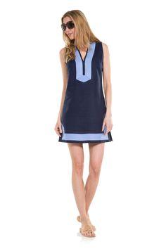 The Classic Sleeveless linen Tunic Dress Navy