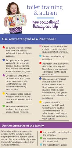 OT Practice explores toilet training and autism. Our infographic has tips on using your strengths as an OT Practitioner.