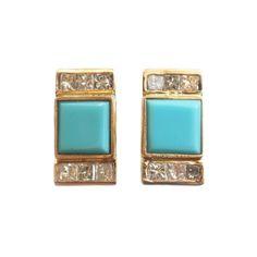Square Turquoise and Diamond Earrings | Mociun