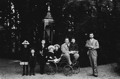 An extended family photo standing outside by a sentry box in Denmark in 1892.From Left to Right:Princess Alexandra of Cumberland,Prince Ernst Augustus of Cumberland,Prince Georg Wilhelm of Cumberland,Prince Christopher of the Hellenes,Princess Olga of Cumberland,Prince George of the Hellenes,Prince Christian of Cumberland and Tsarevich Nikolai Alexandrovich Romanov of Russia.A♥W