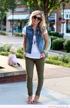 Olive pants, white tee and denim vest (I already have a denim vest so I don't need one of those.)