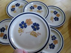 Vintage Newcor Handpainted Salad Plates  Reflection by ChinaGalore