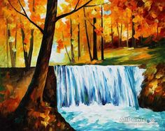 Leonid Afremov Waterfal oil painting reproductions for sale