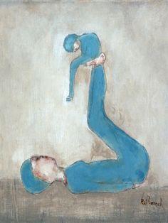 "Art print of original acrylic painting. Mother child art. blue nursery wall art, ""Alice Blue""."