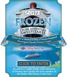 """EXPIRED - It's time to get """"Frozen!"""" Enter this sweepstakes for a chance to win a cruise for two aboard the Disney Cruise Line 7-Night Norwegian Fjords cruise. The prize includes round trip air, a stateroom and all meals. Travel must take place June 6 – 13, 2015. Ends August 23, 2014"""