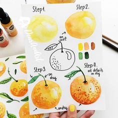 16 Trendy Ideas for fruit sketch watercolour Kids Watercolor, Watercolor Fruit, Fruit Painting, Watercolour How To, Watercolor Painting, Orange Painting, Step By Step Watercolor, Fruit Sketch, Doodle Inspiration