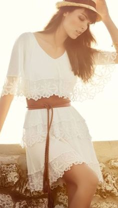 Boho White Lace Dress <3