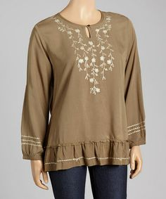 Love this Olive & Cream Embroidered Boho Tunic by Nomadic Traders on #zulily! #zulilyfinds