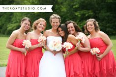 Photography by Samantha McGranahan, The Roxy Studio. Wedding photography, bridal party, guava bridesmaid dresses, ivory and pink wedding bouquets, bridesmaid jewelry