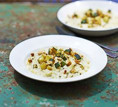 This melt-in-the-mouth vegetarian dish served with pine nuts and fried courgettes is everything a traditional Italian risotto should be
