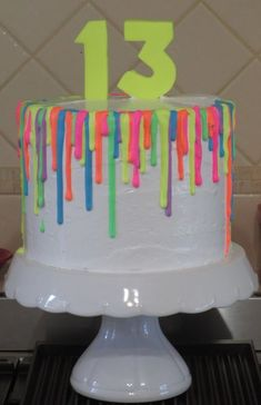 Fluoro Glow In The Dark Drip Cake Double barrel 8 inch vanilla/passion/raspberry. Fluoro Glow In The Dark Drip Cake Double barrel 8 inch vanilla/passion/raspberry chiffon filled wit Sleepover Birthday Parties, Birthday Party For Teens, 14th Birthday, Sweet 16 Birthday, Birthday Ideas, Dance Party Birthday, Teen Parties, Teen Birthday, Drip Cakes