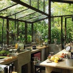 armani kitchen designs - Greenhouse Kitchen at Graine & Ficelle Permaculture Farm, Saint-Jeannet, France.