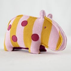 The Land of Nod | Stuffed Animals: Knit Hippo Menagerie in Baby Toys