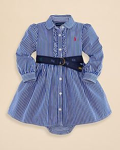 Ralph Lauren Childrenswear Infant Girls' Stripe Shirtdress & Bloomers Set - Sizes 9-24 Months | Bloomingdale's
